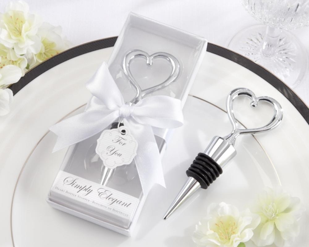 Wedding, Engagement Bomboniere Favours : Chrome Heart Bottle Stopper ...
